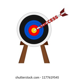 Isolated business success archery arrow to center target , goal concept