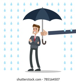 Isolated businessman under umbrella protection and rain.