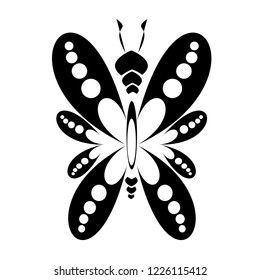 Isolated butterfly icon vector. Design black on white background. Design print for embroidery, illustrations. Set 1