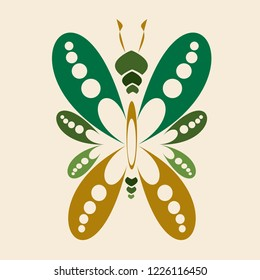 Isolated butterfly icon vector. Design green on gold background. Design print for embroidery, illustrations. Set 3