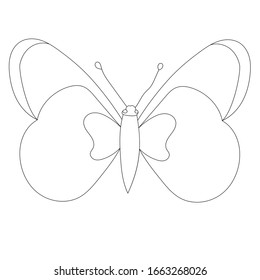 isolated, butterfly minimal sketch, outline, icon