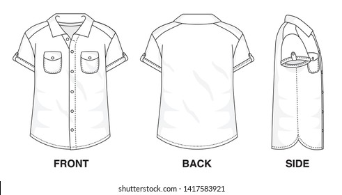 Isolated Button up Blouse object of clothes and fashion stylish wear fill in blank shirt. Regular 2 Pockets Polo Neck Short Sleeves Illustration Vector Template. Front, back and side view