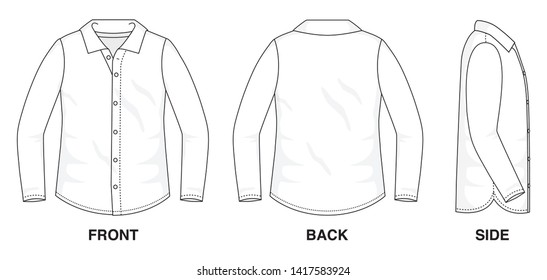 Isolated Button up Blouse object of clothes and fashion stylish wear fill in blank shirt. Regular Polo Neck Long Sleeves Illustration Vector Template. Front, back and side view