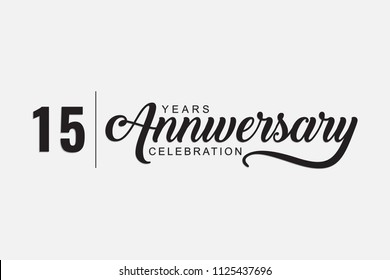 isolated calligraphy of happy 15 years anniversary with black color