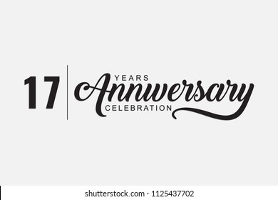 isolated calligraphy of happy 17 years anniversary with black color - Shutterstock ID 1125437702