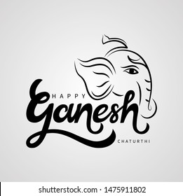 isolated calligraphy of happy ganesh chaturthi with black color