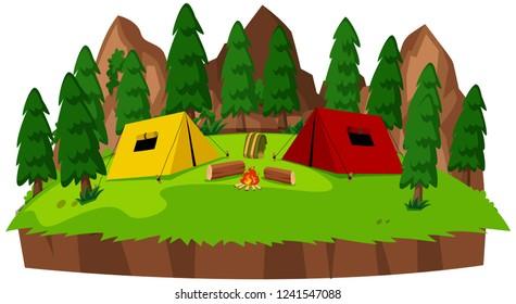 Isolated campsite on white background illustration