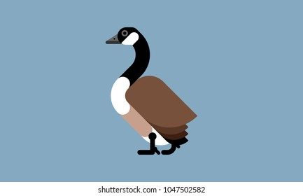 Isolated Canada geese  icon in modern flat style, with simple Geometric shapes only