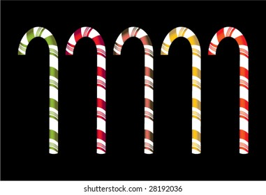 Isolated candy canes - vector