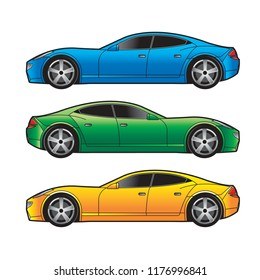 isolated car variation isolated on white background vector drawing