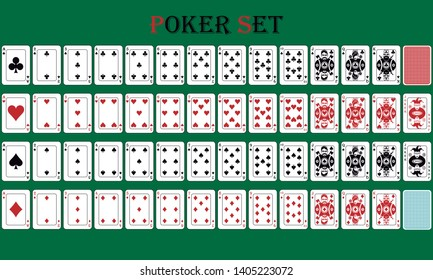 Isolated card poker game with reverse, on a green background. vector file