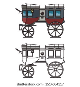 Isolated carriage or britzchka contour, outline of chariot or wedding wagon, brougham or retro landau, stagecoach or perth-cart, cab for transportation, classic coach. Vehicle and transportation theme