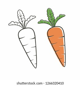 Isolated carrot vector with simple design