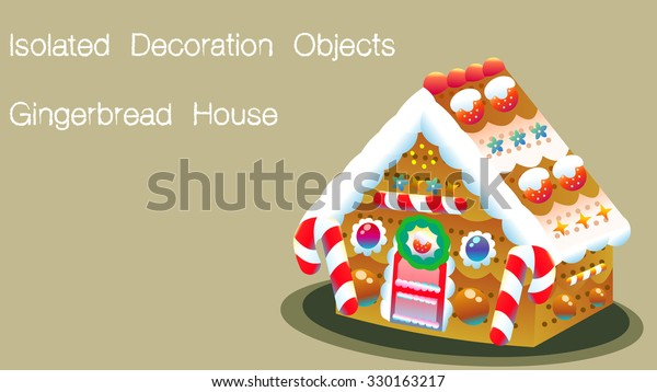 Isolated Cartoon Drawing Gingerbread House Object Stock