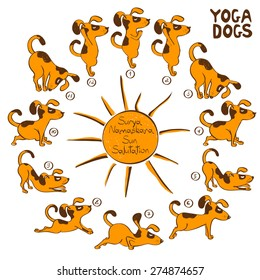 Isolated cartoon funny red dog doing yoga position of Surya Namaskara.