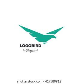 Isolated, cartoon, geek, strict eagle flying, triangular vector shape, minimalism, flat, stylish, geometric stylized logotype, turquoise color logo template, bird, wings, feathers, eagle.