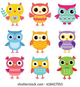 Isolated cartoon owls, vector set