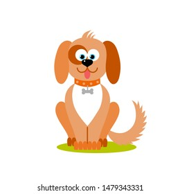 Isolated cartoon sitting brown dog on white background. Colorful frendly dog. Animal funny personage. Flat design.