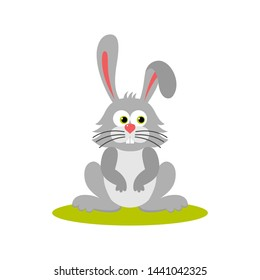 Isolated cartoon sitting gray bunny on white background. Colorful frendly rabbit. Animal funny personage. Flat design.