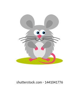 Isolated cartoon sitting gray mouse on white background. Colorful frendly mouse. Animal funny personage. Flat design.