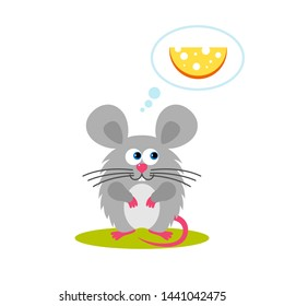 Isolated cartoon sitting gray mouse on white background. Frendly mouse think about food, cheese. Animal funny personage. Flat design.