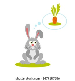 Isolated cartoon sitting gray rabbit on white background. Frendly bunny think about food, carrot. Animal funny personage. Flat design.