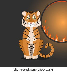 Isolated cartoon sitting orange tiger near flaming hoop on black background. Colorful sad tiger. Wild animal personage. Problem of exploitation of wild animals in circuses. Flat design.