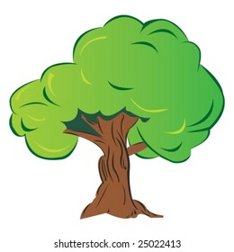 isolated cartoon tree, vector illustration