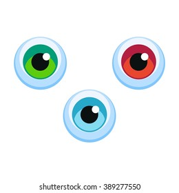 Isolated cartoon vector blue, green, red eyeball icon