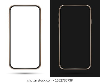 Isolated cell phone mockup on a black and white background. Golden phone
