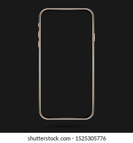 Isolated cell phone mockup. Vector mobile phone frame. User interface design. Golden phone mockup on the dark background.