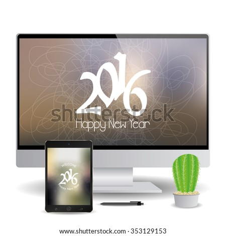 isolated cellphone and a computer screen with new year screensavers