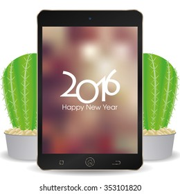 isolated cellphone with a screensaver with text for new year celebrations