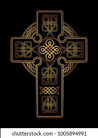 isolated Celtic cross from national Scandinavian ornament. Symbol of Druids, Ireland and Scotland. Golden vector sign on a black background
