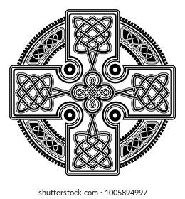 isolated Celtic cross from national Scandinavian ornament. Symbol of Druids, Ireland and Scotland