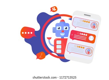 Isolated Chatbot advisor vector illustration: cute automatic chat bot support robot and smartphone. Mobile Help Support Advisor Chatbot icon.