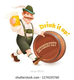 Isolated cheerful fat man in a Bavarian suit walks, holding a mug of beer in his hand, pushes a wooden barrel. Vector moustached character with a feather hat and Lederhosen pants. Oktoberfest poster.