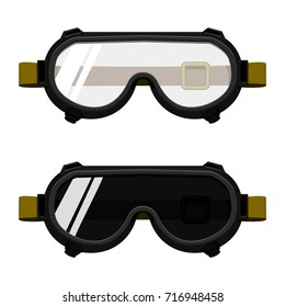 Isolated Chemical goggles and welding goggles on transparent background