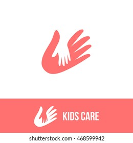Isolated child and adult hands vector logo. Negative space logotype. Family illustration. Kids care icon. Orphanage symbol. Children adoption sign. Charity campaign emblem.