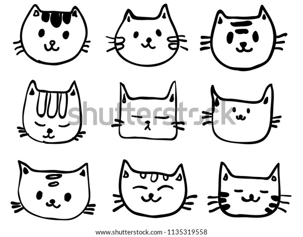 Isolated Childish Line Cute Cat Face Stock Vector Royalty Free