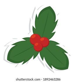 Isolated christmas holly. Christmas decoration - Vector illustration