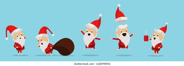 Isolated Christmas Santa Claus in a flat design. Vector illustration of a flat design