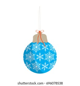 Isolated christmas tree ball in light blue with white snowflake pattern on a white background, Vector illustration