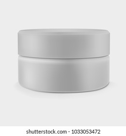 Isolated closed gray cream jar. Luxury cosmetics. Vector mockup.