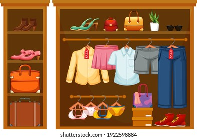 Isolated clothes in the closet illustration