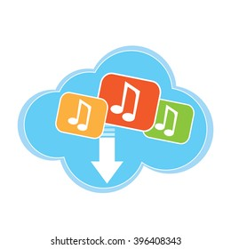Isolated cloud with music icons on a white background