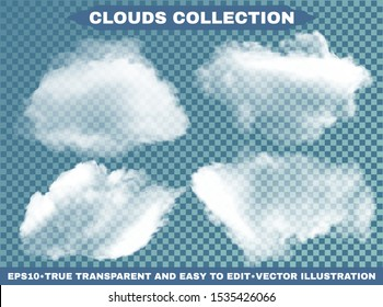 Isolated clouds on a blue sky background. Cloudy template with soft colors. Vector illustrations collection. White realistic natural and transparent elements. Thunderclouds or smoke.