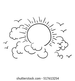 Isolated clouds and sun design