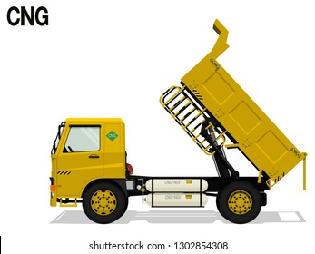 Isolated CNG dump truck is lifting tray on transparent background