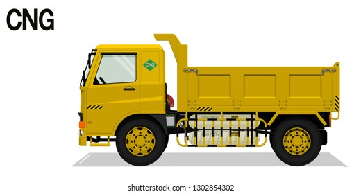 Isolated CNG dump truck on transparent background